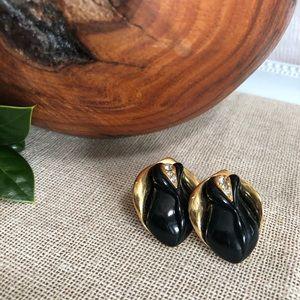 Kenneth Jay Lane Avon Vtg Midnight Rose Earrings